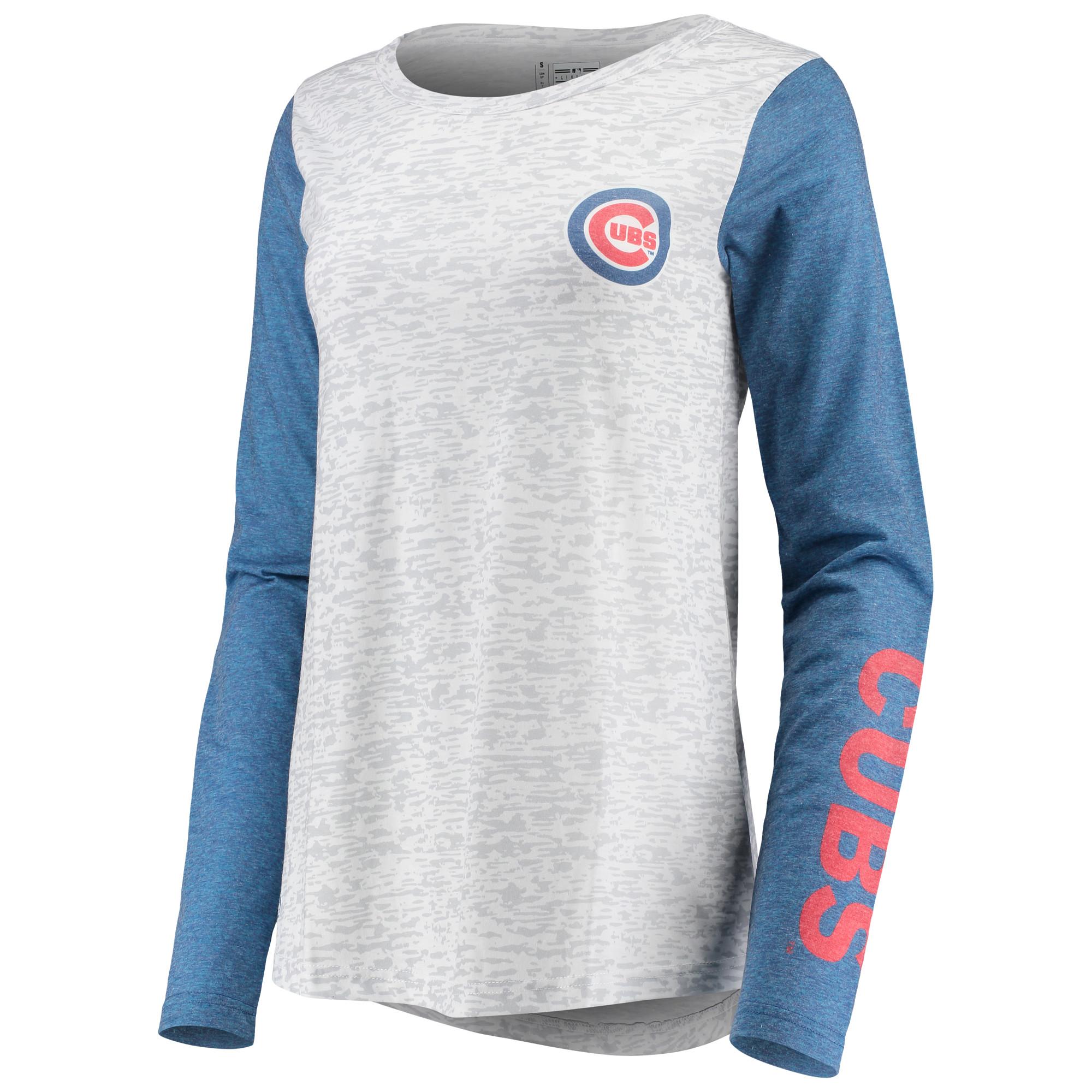 Chicago Cubs Women's Heathered Boyfriend Long Sleeve T-Shirt - White/Royal