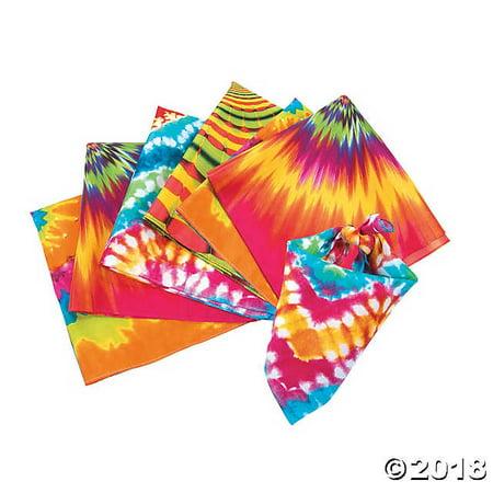 Psychedelic Tie Dye Bandanas, Set of 4