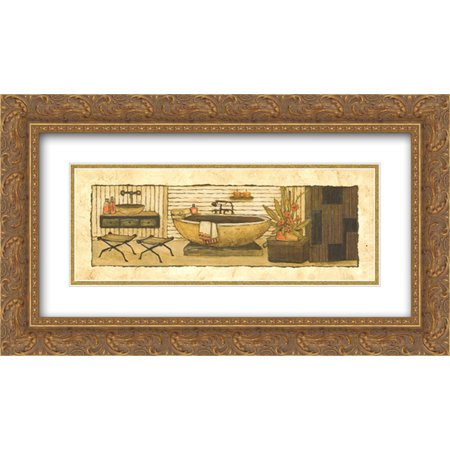 Z Spa II 2x Matted 24x12 Gold Ornate Framed Art Print by Charlene Winter Olson