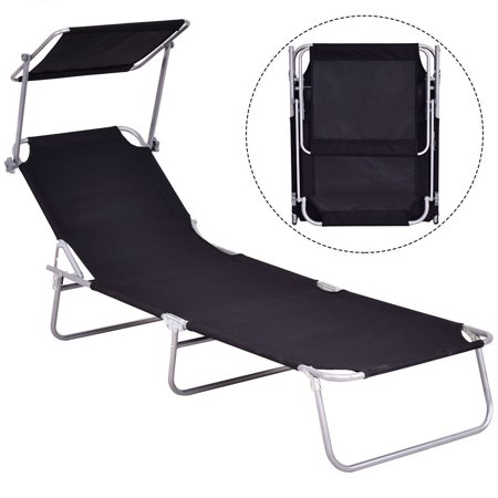 Gymax Foldable Sun Lounge Bed Chair Beach Recliner Seat Back Black ()