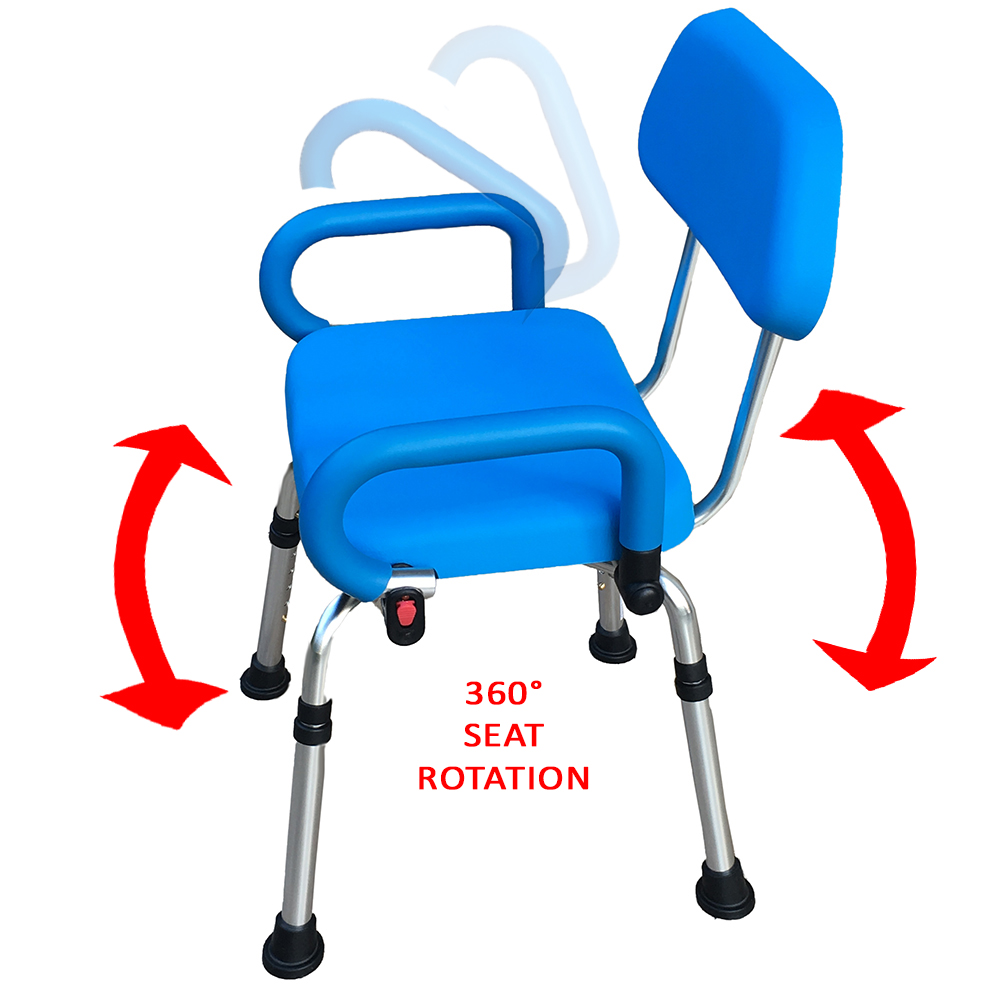 Platinum Health Revolution Pivoting Bath Shower Chair with Padded Back and Arms