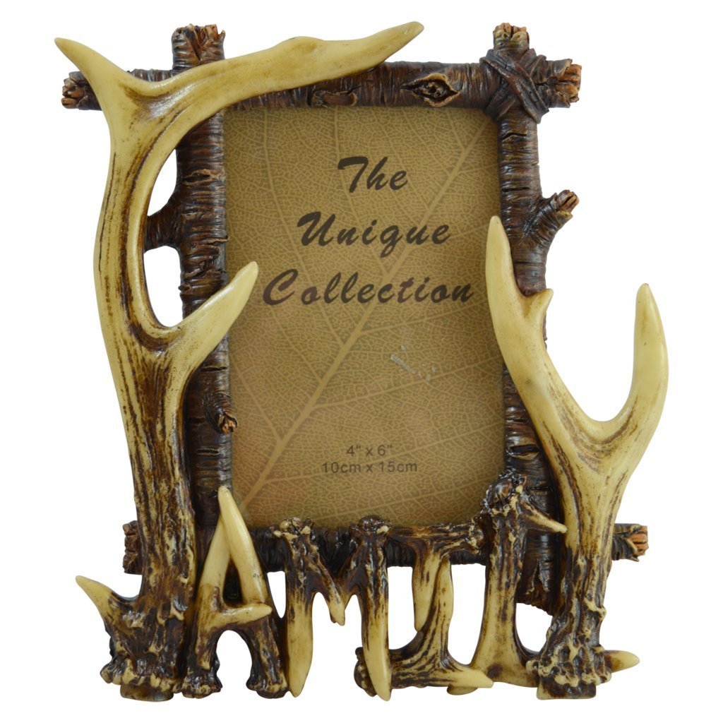"Pine Ridge Rustic Deer Antler Free Standing Photo Frame Inscribed ""Family"" - Rustic Portrait Frame Table Top Home Decor"