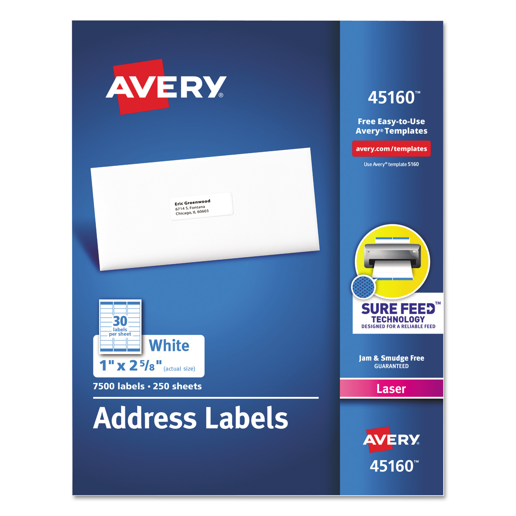 Avery Address Labels for Laser Printers, 1 x 2 5/8, White, 7500/Box