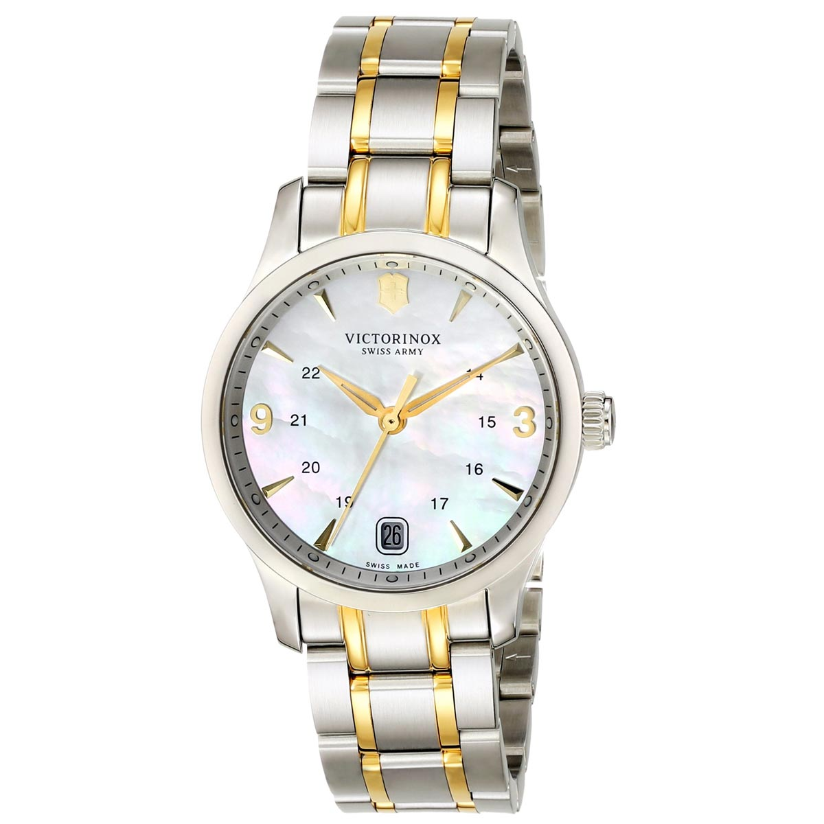 Swiss Army 249062 Women's Alliance White MOP Dial Two Tone Bracelet Watch
