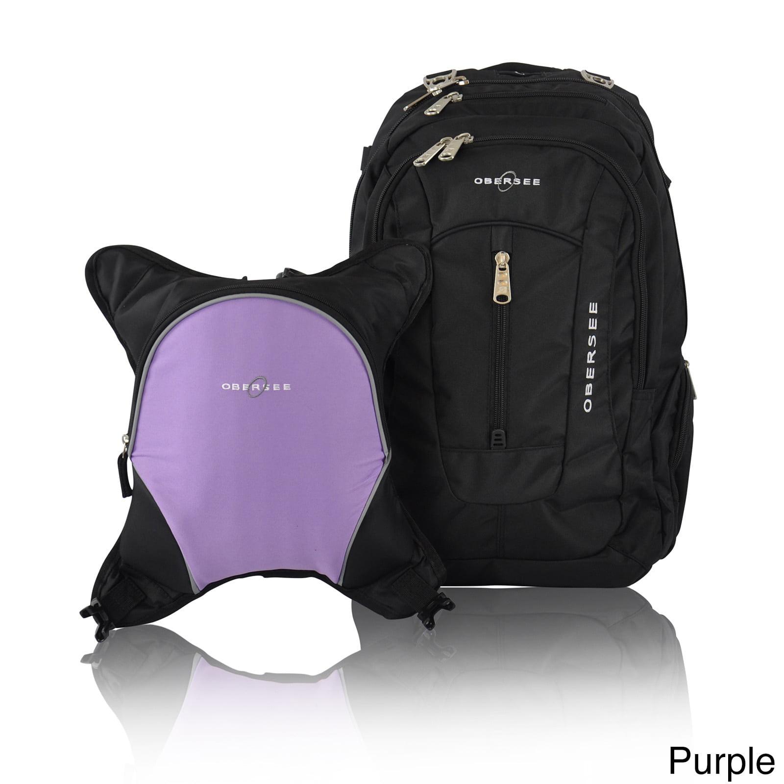 Obersee Bern Diaper Bag Backpack and Cooler, Black/Purple