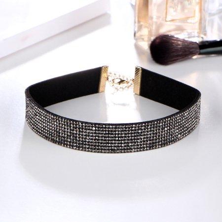 Women Choker Crystal Rhinestone Charm Ladies Jewelry -