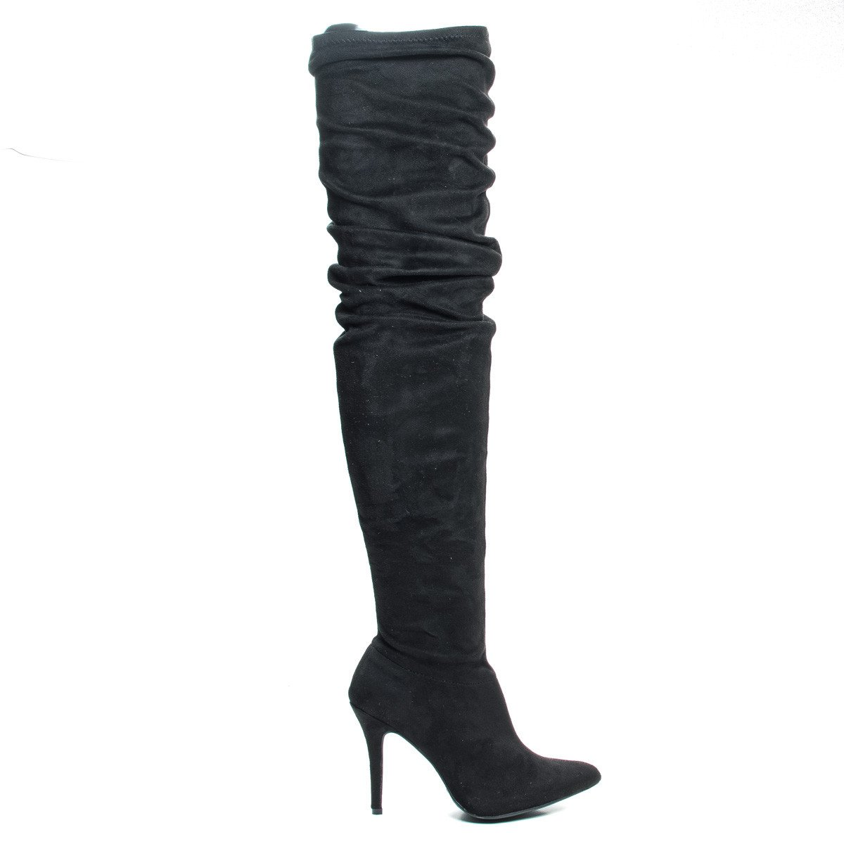 Monet23v by Anne Michelle, Thigh High Wrinkled High Heel Dress Boots