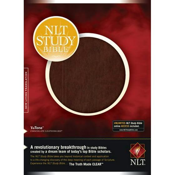 Nlt Study Bible Tutone Red Letter Leatherlike Chocolate