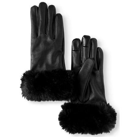 Women's P.U Leather Glove with Faux Fur Cuff