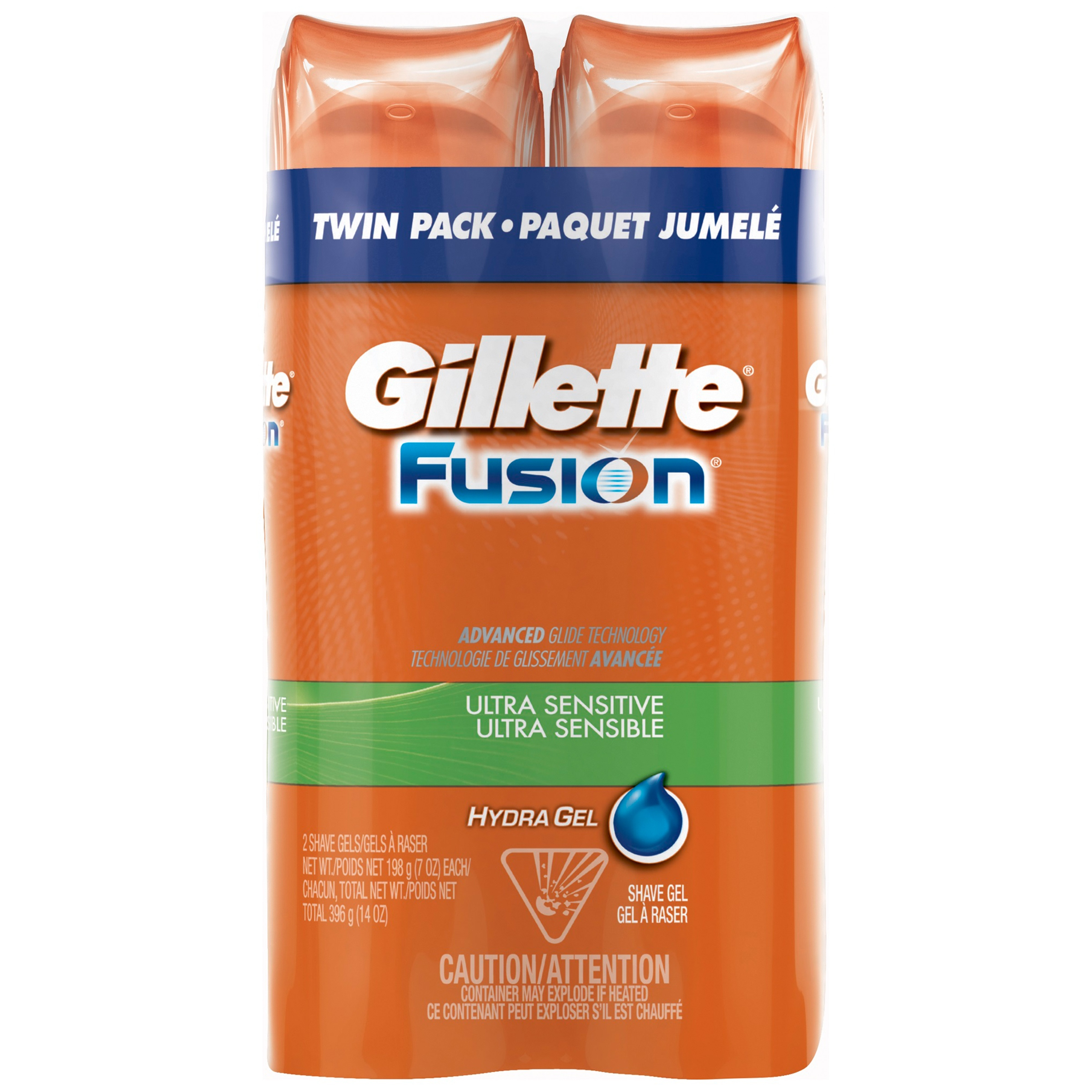 Gillette Fusion Ultra Sensitive Hydra Gel Men's Shave Gel Twin Pack, 14oz