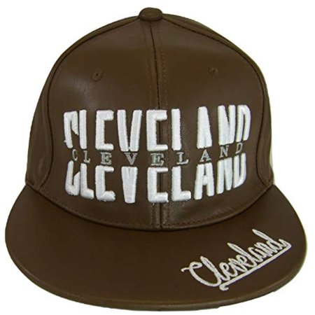 Cleveland PU Leather Window Shade Font Snapback Baseball Cap (Brown) ()