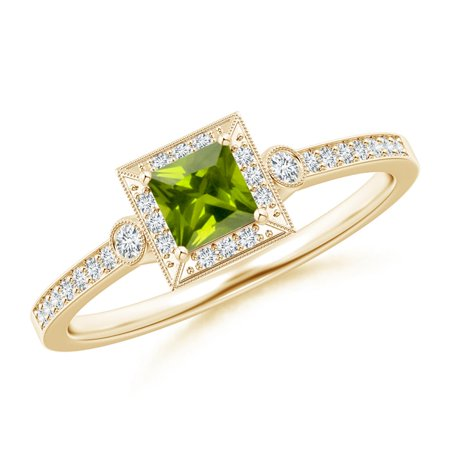 August Birthstone Ring - Milgrain-Edged Square Peridot and Diamond Halo Ring in 14K Yellow Gold (4mm Peridot) - SR1093PD-YG-AAA-4-5