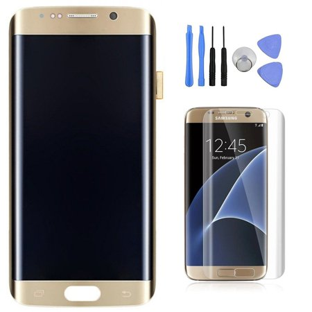 Touch Lcd Screens - Samsung Galaxy S7 Edge LCD Display Digitizer Touch Screen Assembly For All Models (G935A G935V G935P G935T G935F) with Tempered Glass Screen Protector by Mr Repair Parts (Gold)