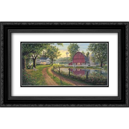 The Road Home 2x Matted 24x16 Black Ornate Framed Art Print by Norlien,