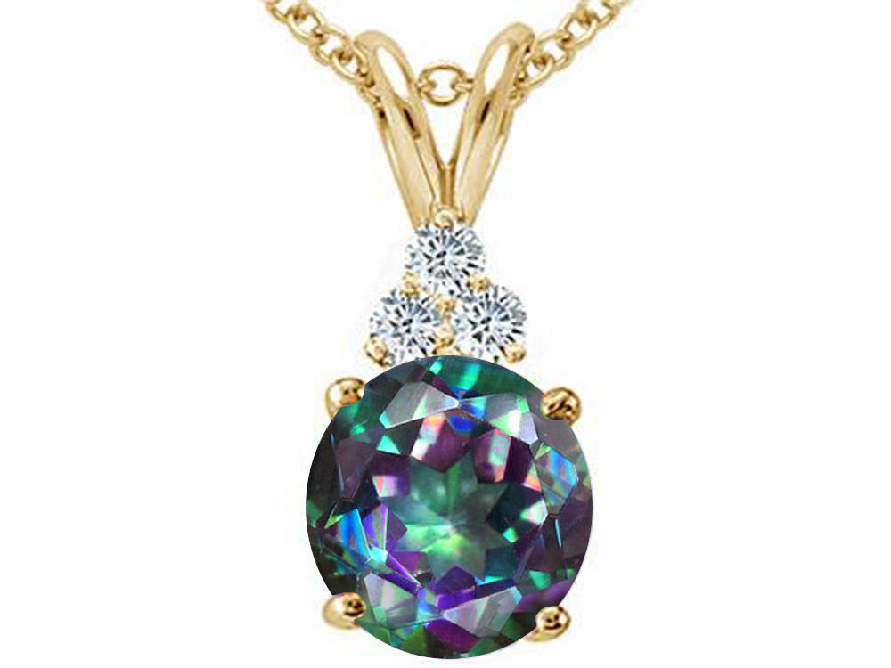 Tommaso Design Round 7mm Rainbow Mystic Topaz Pendant Necklace by
