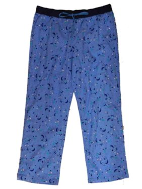 Womens Blue Star & Moon Print Flannel Sleep Pants Lounge & Pajama Bottoms