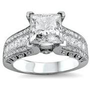 Noori Collection Noori 18k White Gold 2 4/5ct TDW UGL-certified Enhanced Princess-cut Round Diamond Engagement Ring