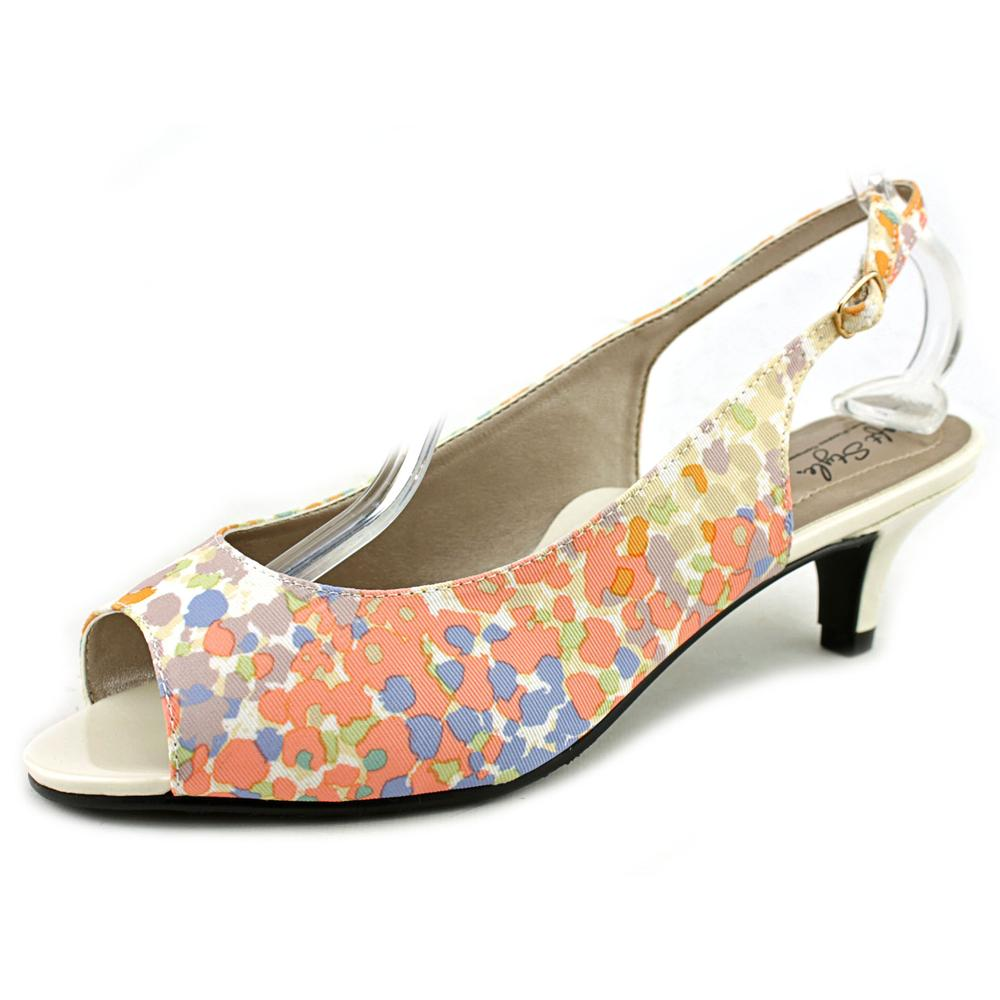 Soft Style by Hush Puppies Analee  N/S Peep-Toe Canvas  Slingback Heel