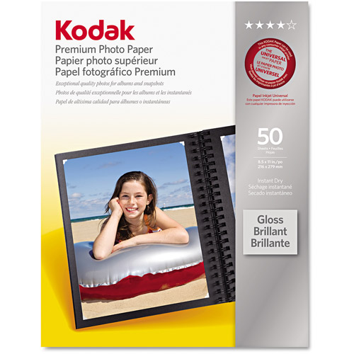 "Kodak Premium Photo Paper, 8-1/2"" x 11"", 50-Pack"