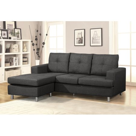 US Pride Furniture Amador Linen Fabric Reversible Left or Right Sectional Sofa, Dark Gray ()