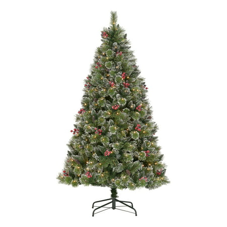 Holiday Time Pre-Lit Glittering Frost Pine Christmas Tree, 7.5', Warm White LED