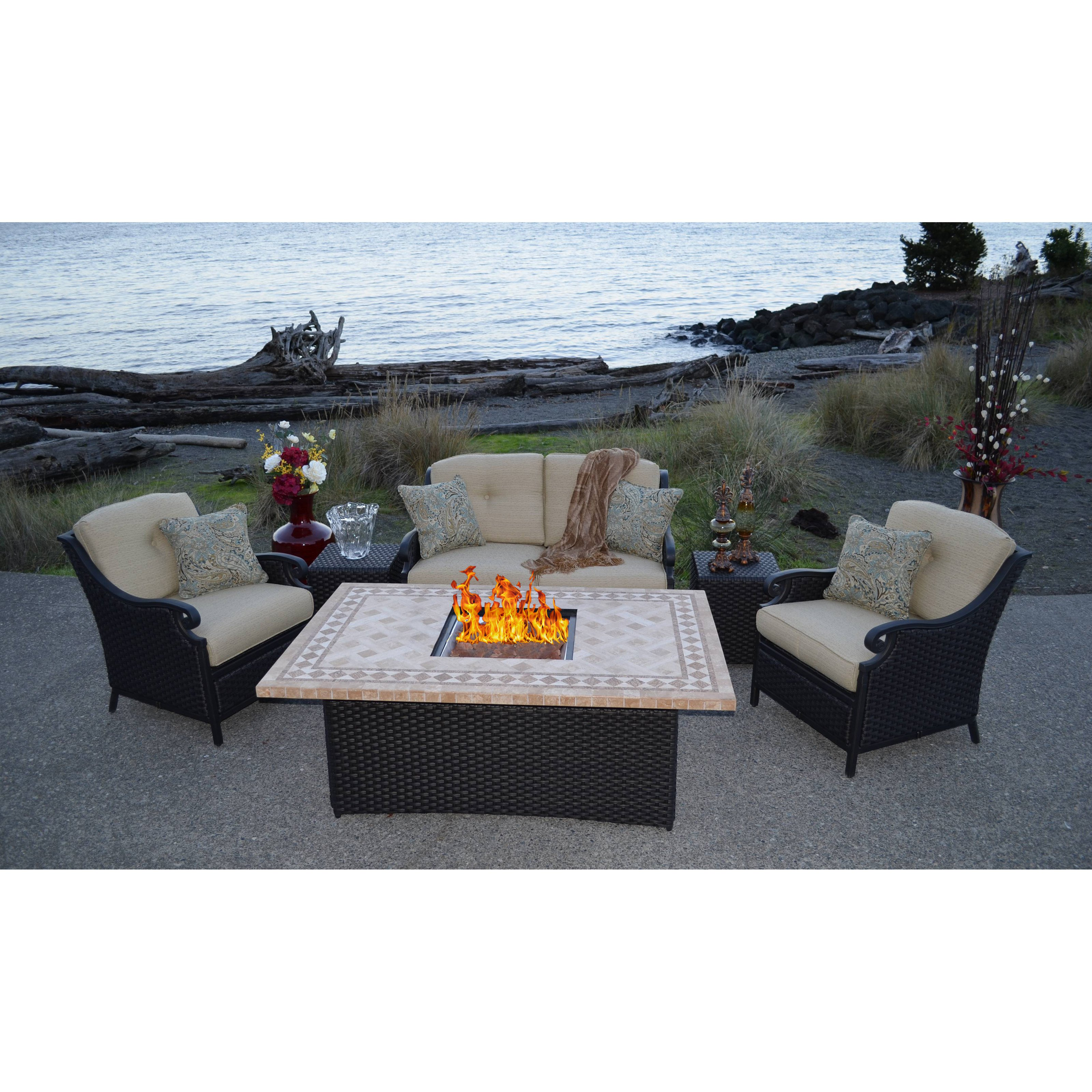 Outdoor Innovation Estrada 6 Piece Fire Pit Seating Group with Cushion