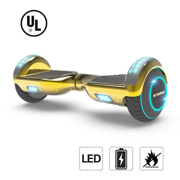 "Hoverboard 6.5"" LED Bluetooth Speaker Self Balancing Wheel Electric Scooter- Chrome Gold"
