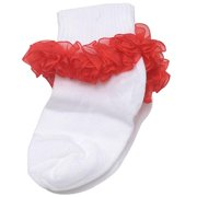 Piccolo Baby Girls White Red Ruffled Ankle Trim Ribbed Cuff Socks 3-4.5