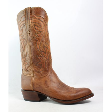 Lucchese Mens Hl1504.63 Tan Burnished Cowboy, Western Boots Size 8 (2E)
