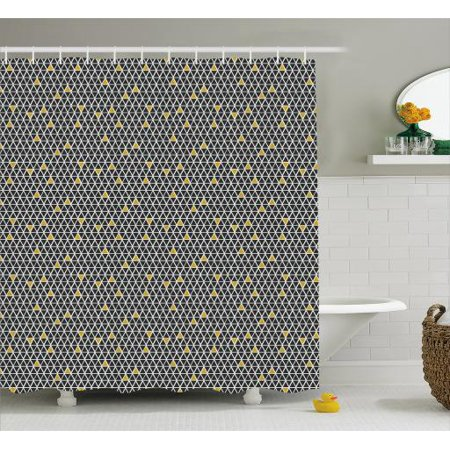 Geometric Shower Curtain Simplistic Rhombus Background With Diamond And Triangular Shapes Fabric Bathroom Set Hooks 69W X 84L Inches Extra Long