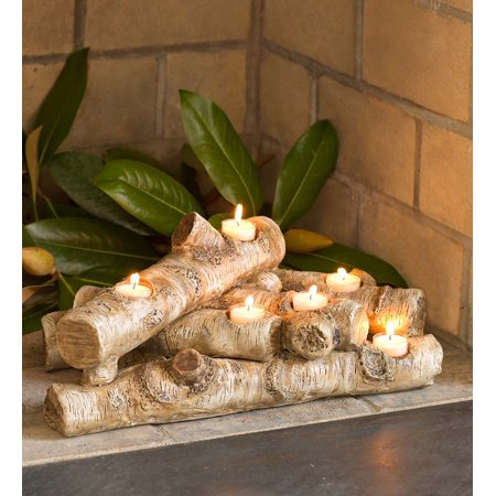 Elegant Logs Fireplace/Hearth Candle Holder