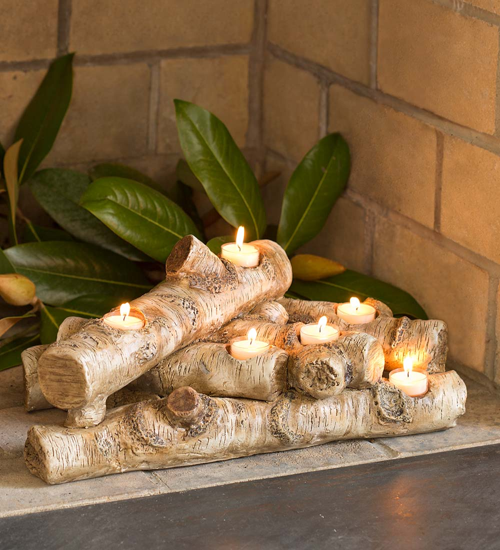 Elegant Logs Fireplace/Hearth Candle Holder