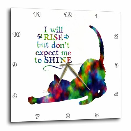 3dRose Rise and Shine- Funny Cat Design in Colorful Watercolor Effect - Wall Clock, 13 by 13-inch (Rise And Shine Clock)