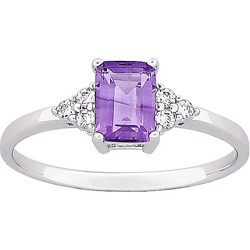 0.46 Carat T.G.W. Emerald-Cut Amethyst and CZ Ring in Sterling Silver