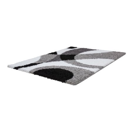 Ladole Rugs Grey White Indoor Solid Plain Shag Soft Area