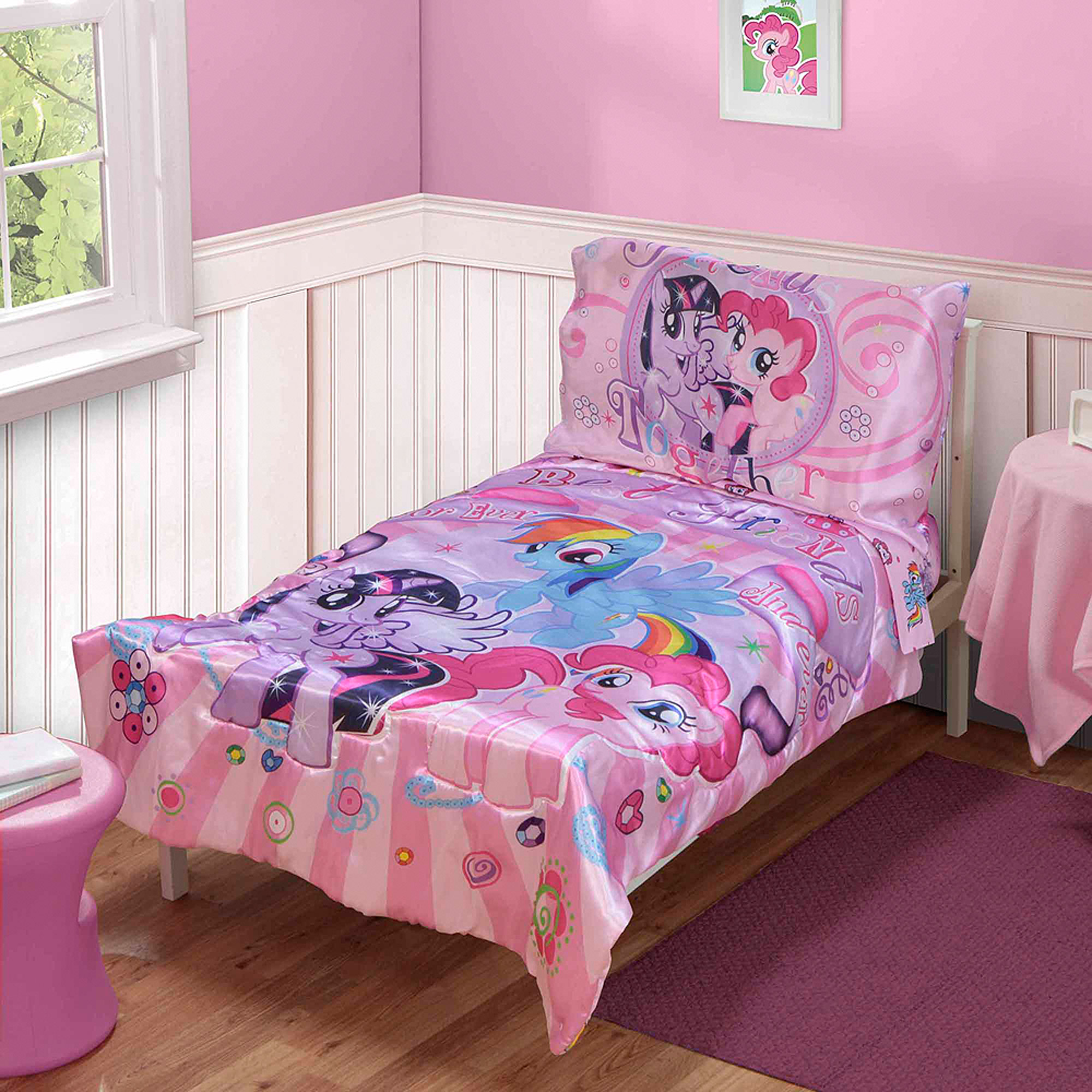 Interior My Little Pony Bedroom Ideas my little pony 4 pc toddler bedding set walmart com