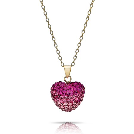 14K Solid Gold Pave Multicolor Shade Rose Crystal Puff Heart Pendant Nk Made Wswarovski Elements - Pave Rose Gold Necklace