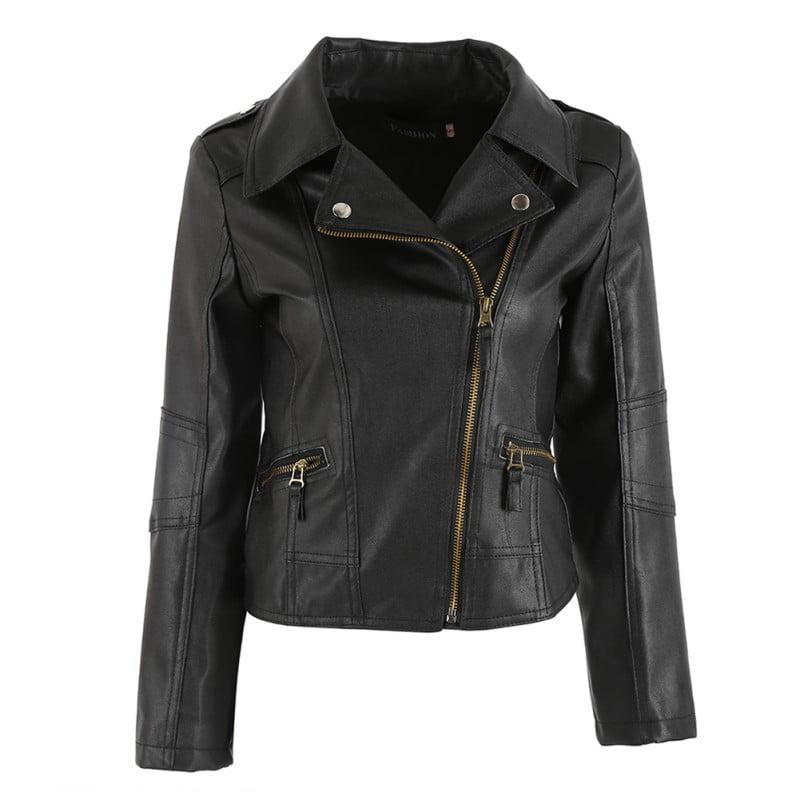 EFINNY Punk Women PU Leather Zipper Biker Motorcycle Coat