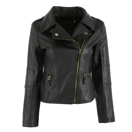 EFINNY Punk Women PU Leather Zipper Motorcycle Coat