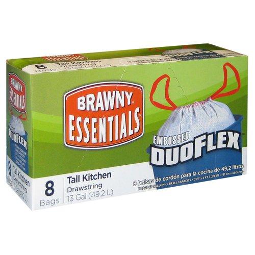 Brawny Essentials Tall Kitchen Drawstring Bags, 13 Gallon, 8 ct