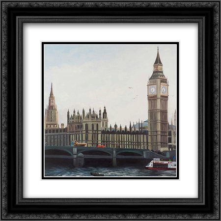 Big Ben Clock Elizabeth Tower in London 2x Matted 20x20 Black Ornate Framed  Art Print by Atelier B Art Studio