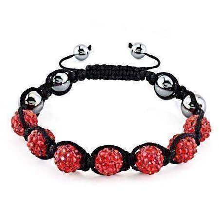 ON SALE - Sparkly Red Crystals Hand Made Shamballa Bracelet Red