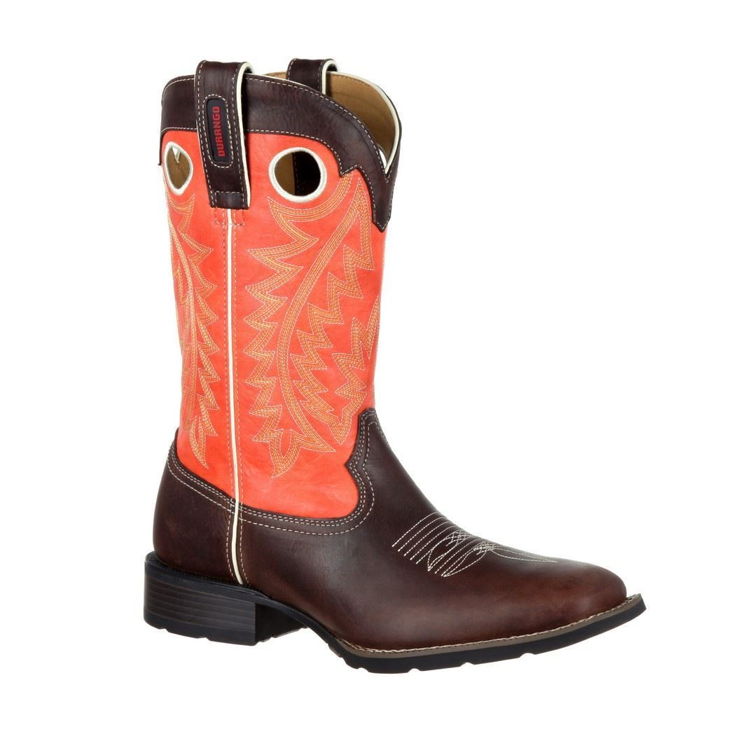 "Durango Mustang DDB0120 Mens Brown Orange 12"" Broad Square Toe Western Boots by"