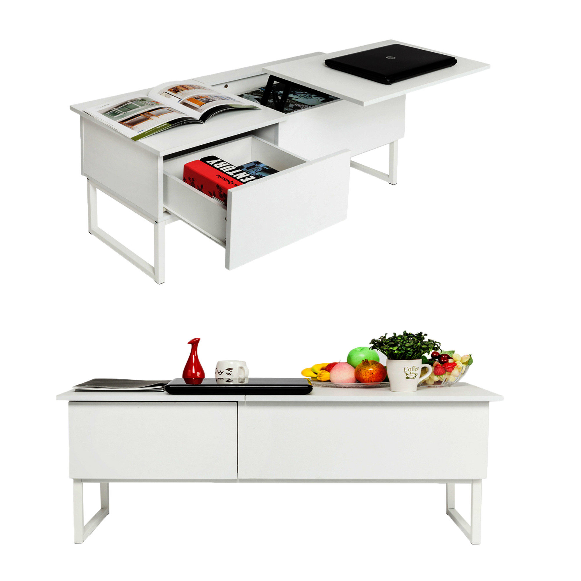 Zimtown Wood Lift Top Coffee End Table with Storage Space Modern Living Room Furniture White