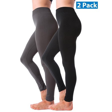 2 Pack Winter Warm Fleece Lined Thick Brushed Full Length Leggings Thights