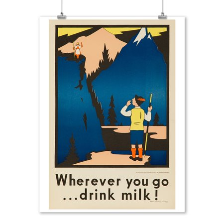 Wherever you go drink milk! (hiker) Vintage Poster (artist: Deacon) USA c. 1920 (9x12 Art Print, Wall Decor Travel Poster)](Vintage Halloween Photos 1920)