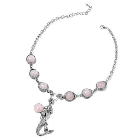 Rose Quartz Black Oxidized Silvertone Fashion Collar Necklace For Women Size (Oxidized Rose)