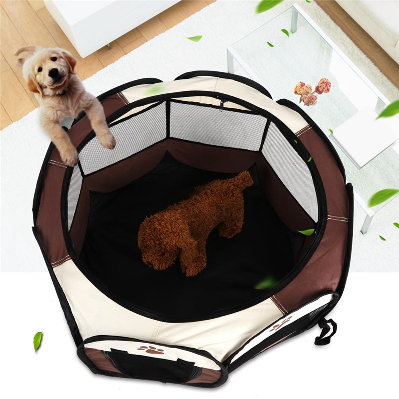 Estink Pet Playpen Pet Cat Dog Portable Foldable Cage Exercise & Play Tent Mesh Cover Pop-up Pet Playpens Dog Exercise Kennel Indoor Outdoor Use Coffee