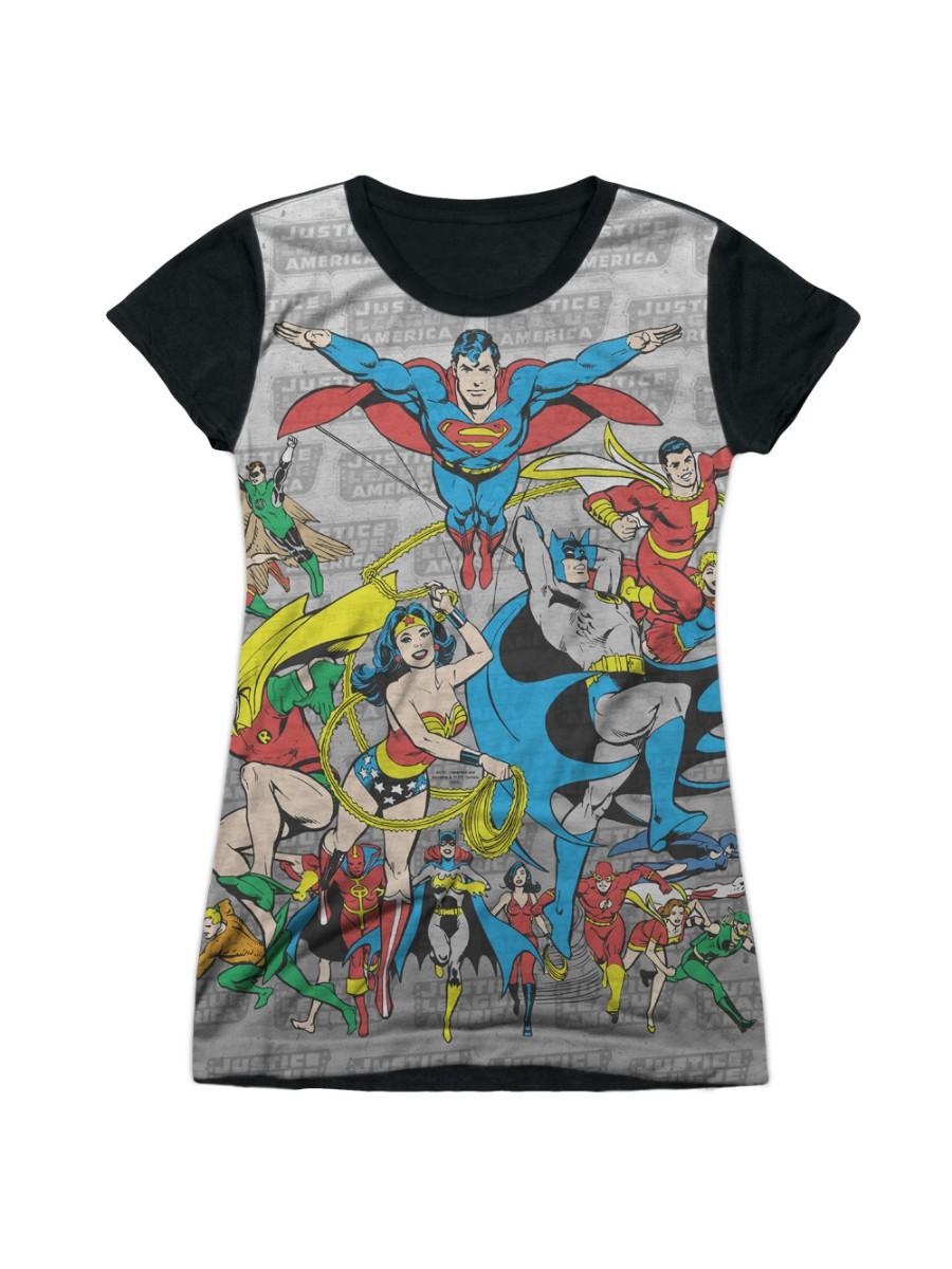 Dc Comics Justice League Of America Assemble Juniors Black Back T