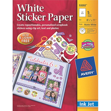 Avery Dennison Ink Jet Printable Sticker Project Paper With Cd 8 1 2  X 11